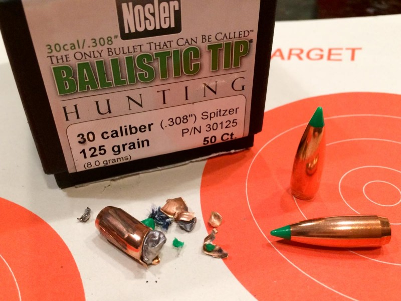 The Nosler hunting round left a large base position that penetrated deep.