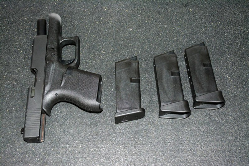 The Glock 43 comes with two magazines - one with a flush base and the other with finger extension.