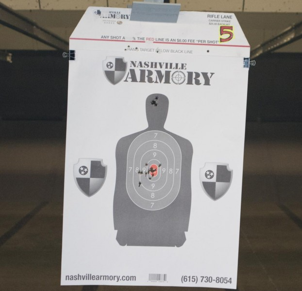 I found the Glock 43 easy to shoot. The low left flyer must have been from a shooter in the next lane...