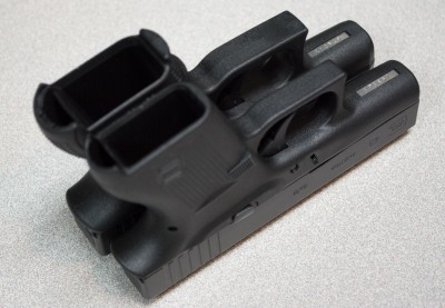 You might think of the Glock 43 (right) as a Glock 26 (lelft) slim.