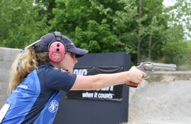 The Bianchi Cup draws the best pistol shooters in the world. Seen here is top women's division competitor Molly Smith.