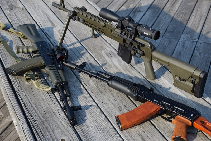 Russian and Bulgarian AKs are still the best out there. The left and top guns are Russian-made, the right is Bulgarian.