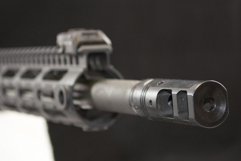 The FN 15 DMR's muzzle is topped with a SureFire ProComp 556 brake.