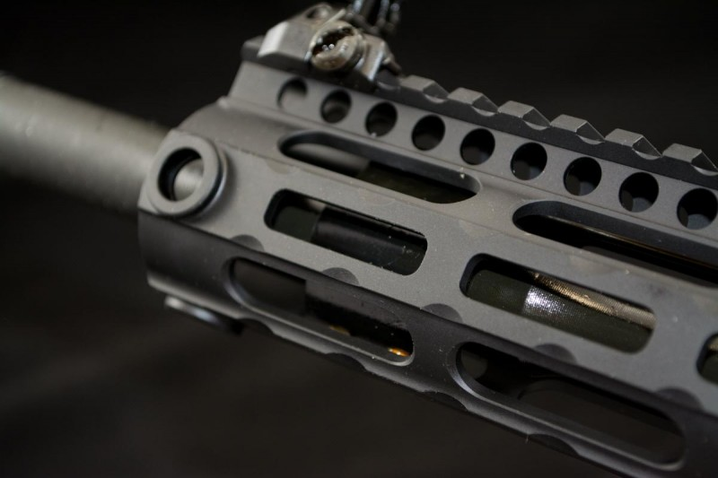 The 15-inch handguard is long enough to cover the mid-length gas system.
