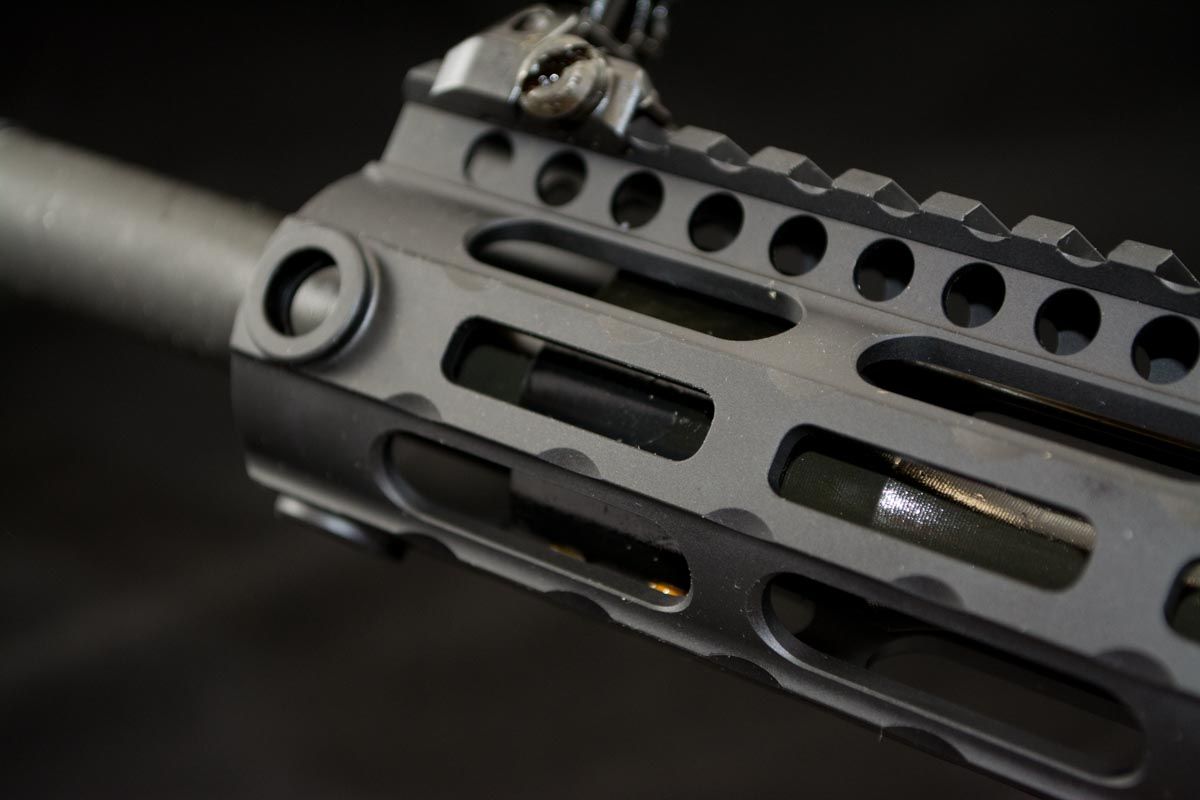 The 15-inch hand guard is long enough to cover the mid length gas system.