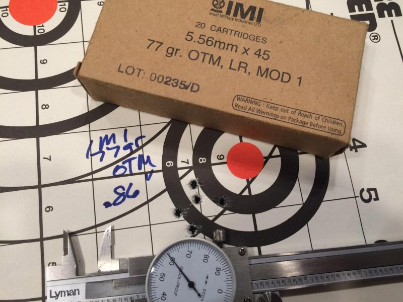 IMI 77-grain produced the tightest five-shot group.