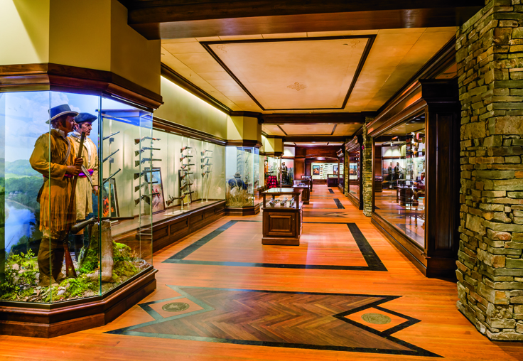 The NRA National Sporting Arms Museum at Bass Pro Shops in Springfield, Missouri displays a complete Lewis and Clark exhibit with the Girardoni air rifle.
