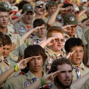 More than 65 Boy Scouts were rushed to a refuge basement after a tornado touched down less than a half mile from their campground.
