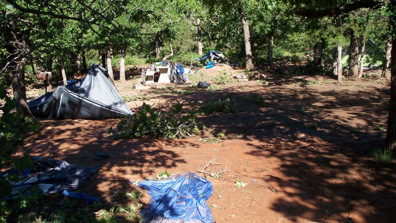 The destroyed campsite.