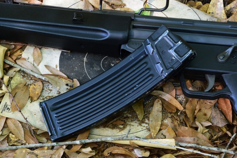 Magazines are available in a wide variety of capacities. Seen here is the 40-round aluminum mag that comes with the gun.