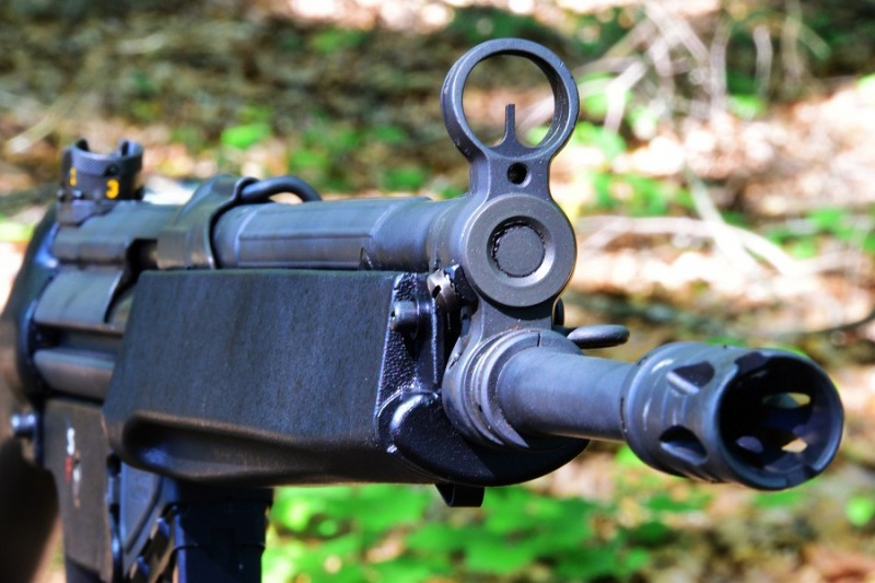 The C93's sights are also the typical HK-style post and drum.