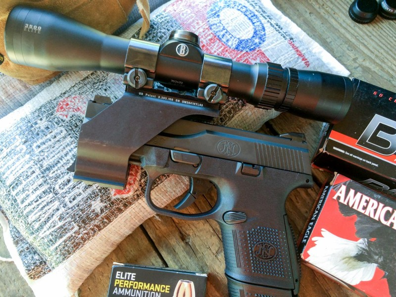 For accuracy testing, I mounted a Bushnell Elite 3500 Handgun Scope with a UM Tactical rail mount.