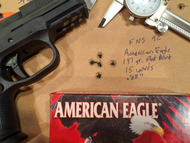 The American Eagle 147 grain ammo was an accuracy surprise.