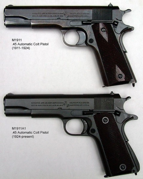 The original M1911 and the M1911A1.