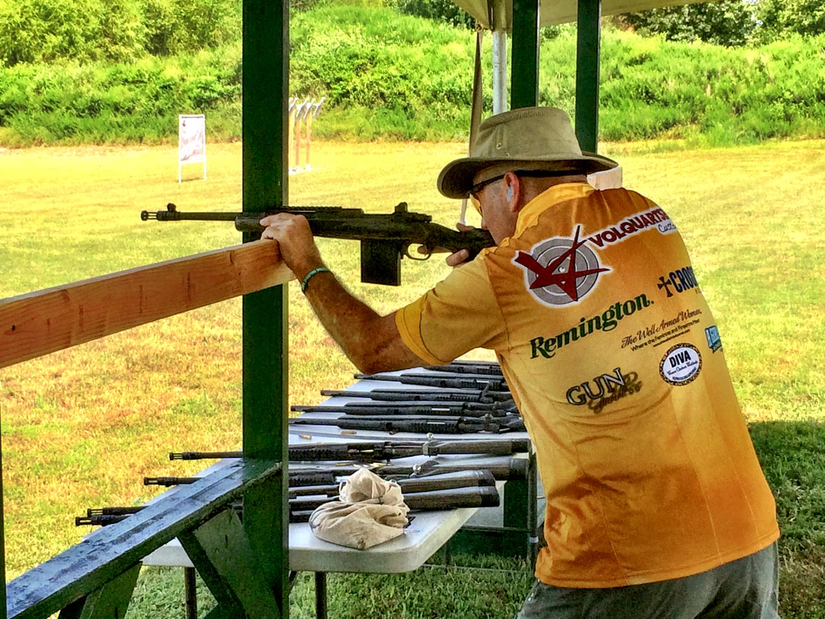 Rough 'Riter Jason taking aim with a Ruger GunSite Scout Rifle.