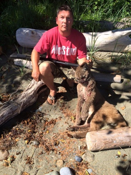 Shawn Hanson and the young cougar that tried to eat his dog.