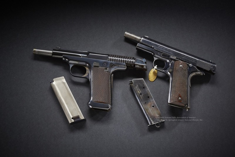 The final trial of the two pistols started out as a dead heat, but the Colt quickly edged out its competitor.
