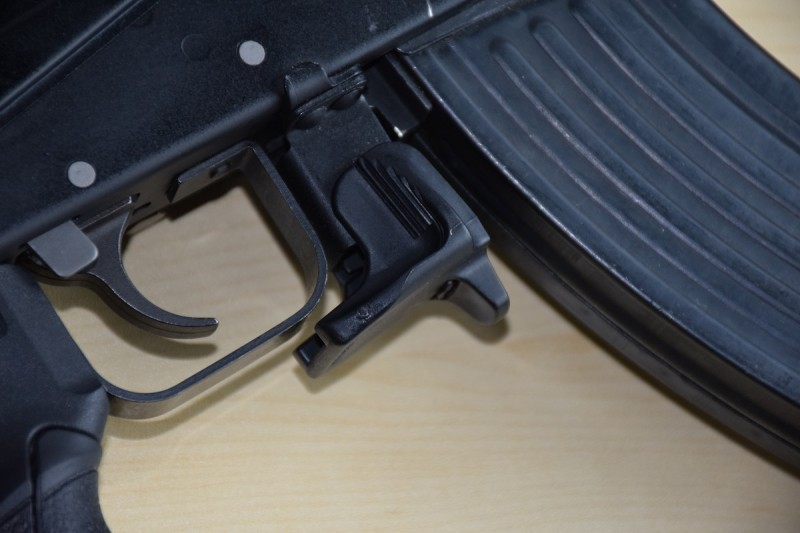 The AKMR extended mag release—nothing to write home about.
