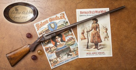 Annie Oakley's Parker shotgun on display at the NRA National Sporting Arms Museum in Springfield, Missouri.