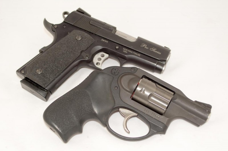 For all practical purposes, it's about the same size as a snubbie revolver. 8 shots of .45 ACP vs. 5 shots of .357 Magnum? Hmmm.