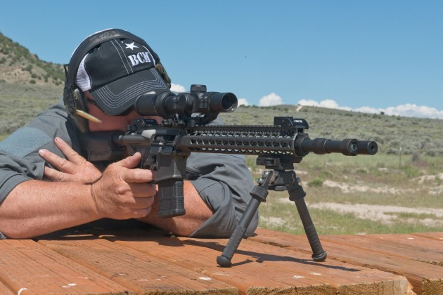 The author shooting a BCM rifle with the ALG Defense ACT.