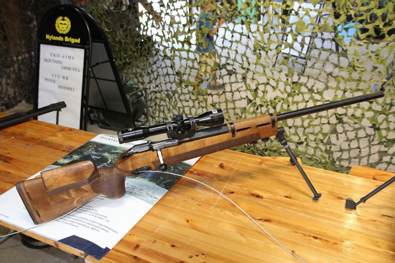 A modern sniper variant of the Mosin-Nagant as displayed by Finnish Defence Forces in 2013. Image is public domain.