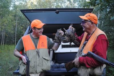 Chris Stewart and his father Al compare birds taken near Gladwin.
