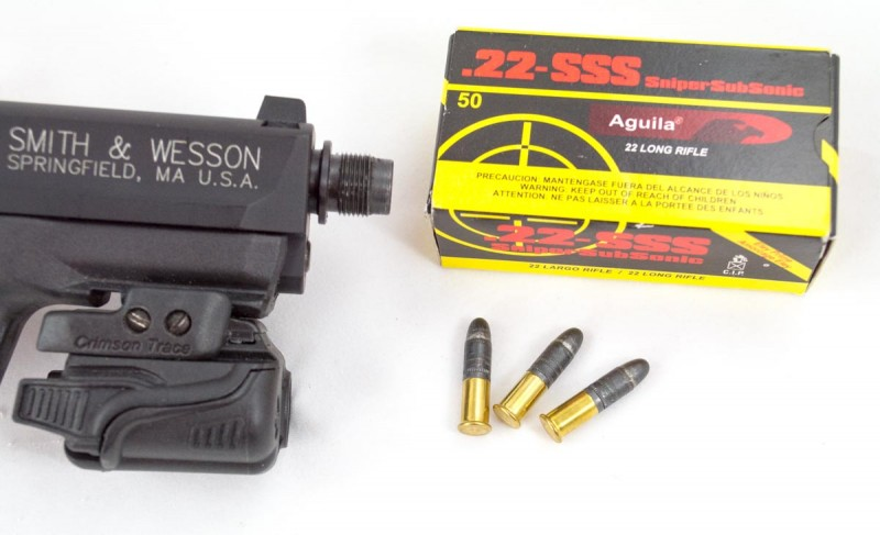 Note the extra short case and extra long lead bullet in the Aguila .22-SSS.