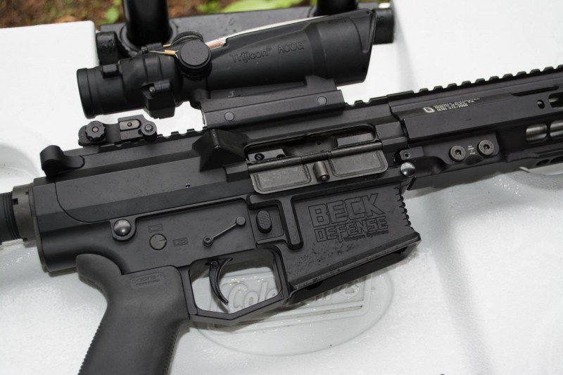 As it's built on an AR-10 platform, there's a bigger mag well and upper receiver.