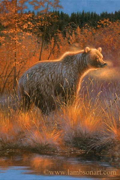 """Dunn would continue to meet with """"Mister Murphy"""" on 2002 BC grizzly hunt. Illustration by Dallen Lambson."""