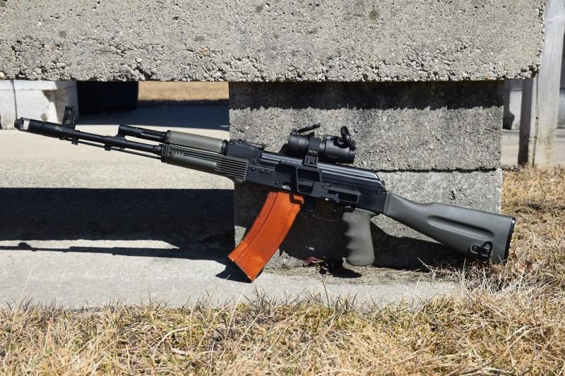 The author's SGL31-47 rifle in 5.45x39mm. This gun also began its life as a Saiga sporter.