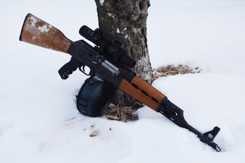 An N-PAP with a non-folding stock. This rifle is equipped with a Hi-Lux 1-4x CMR scope in an RS Regulate mount.