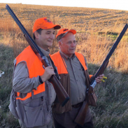 Senator Ted Cruz (left) and Rep. Steve King pose for a picture during last weekend's pheasant hunt.
