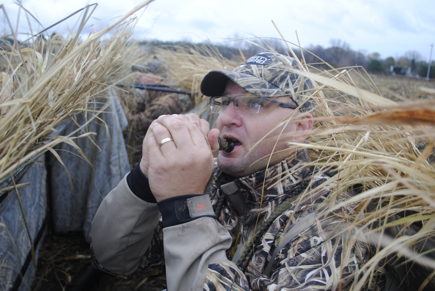 joe robison calls geese from an a frame blind