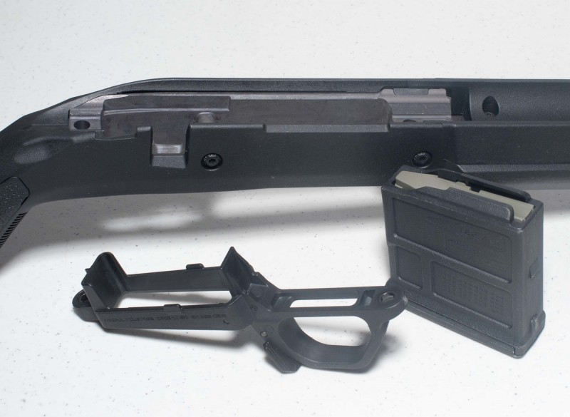 A close-up on the stock and magazine well.