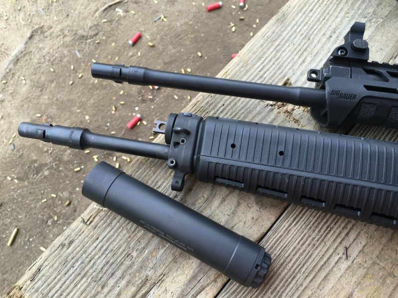 Using different three-lug muzzle devices, I used a Griffin Armament Optimus suppressor on these two Sig rifles - a 556R (bottom) and 556xi (top).