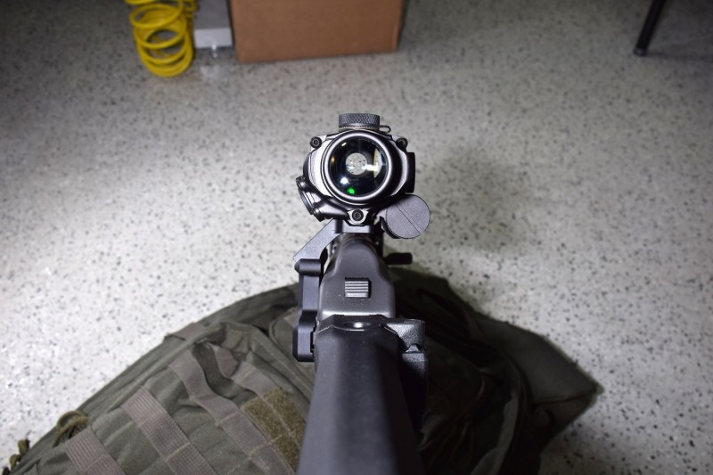 The BTO sits low over the receiver, furnishing a comfortable cheekweld. Note that this optic had been attached and removed from several different guns over the course of the day, so its over-bore position was not perfectly set.