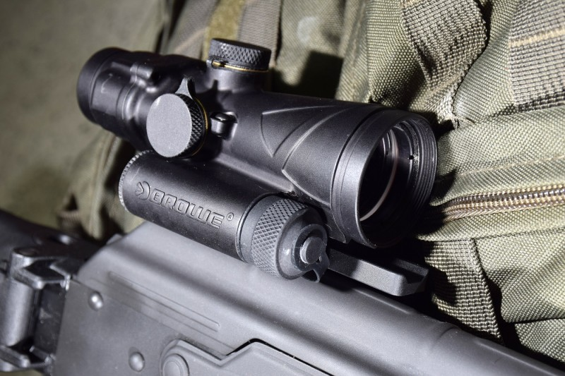The BTO's illuminated reticle is powered by a single Lithium 123A battery.
