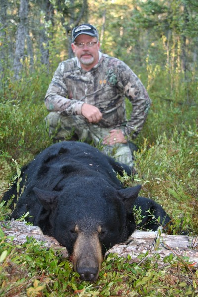 Can you picture yourself sitting behind a big bear like this one? Bear hunting is adrenaline charged and one of the least expensive guided hunts. Image courtesy of Bernie Barringer.