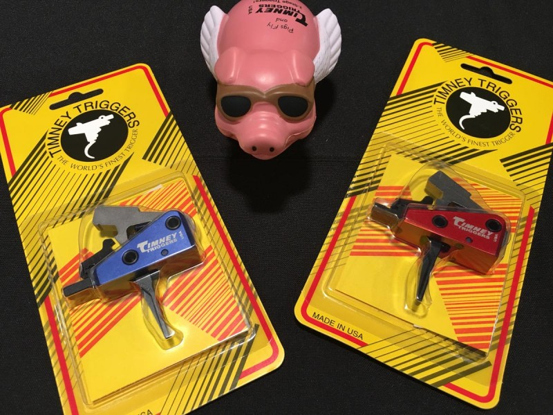 Timney two-stage triggers and a flying pig.