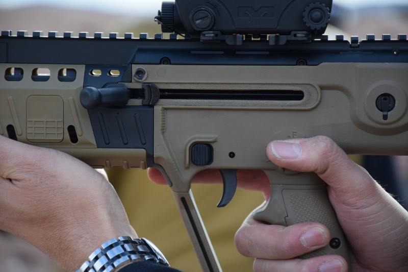 The X95 features an ambidextrous, AR-style magazine release ahead and above of the trigger.