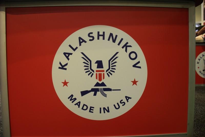 The Kalashnikov USA logo at the company's SHOT 2015 booth.