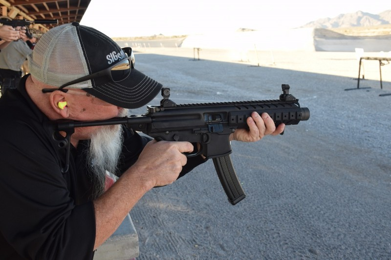 The Sig Sauer MPX in action. This is an SBR variant of the pistol-caliber carbine.