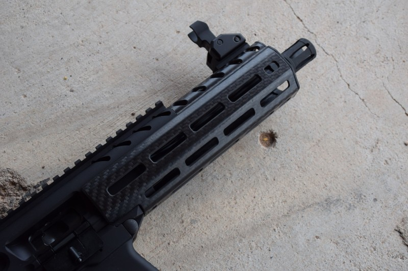 The hanguard has a number of M-LOK attachment points. Image by Matt Korovesis.
