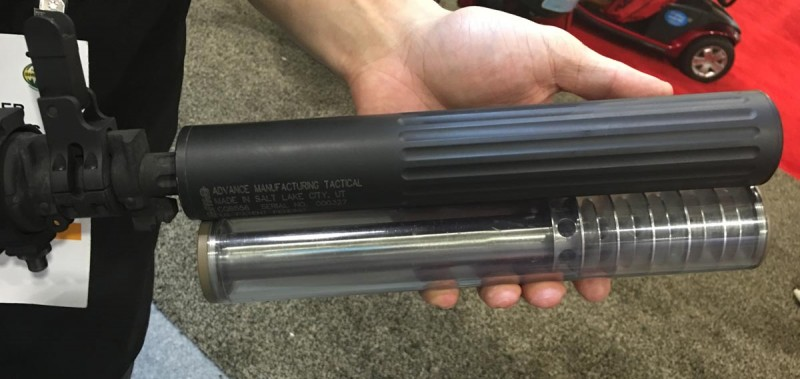 As this clear demo unit shows, this suppressor slides over the barrel to the point where the baffles start.