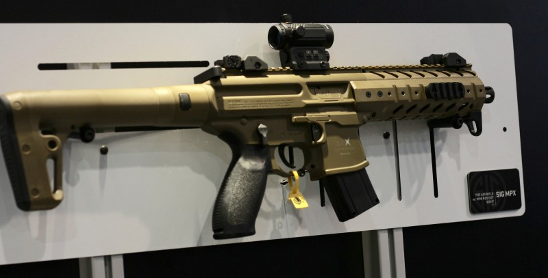 One of Sig's MPX air guns at their SHOT 2016 booth.
