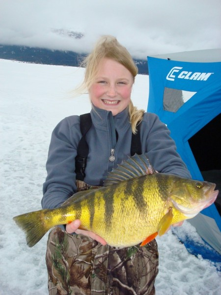 12-year-old Tia Wiese with her world record. Image courtesy Idaho Fish and Game.