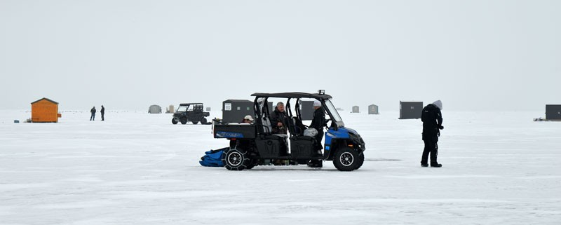 Ice-fishing shanties create a small village about 3.5 miles west of the Door County peninsula on Green Bay.