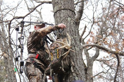 Hangers for the bow and accessories keep everything within reach. Accessing the stuff with a minimum of movement can be a key to closing the deal on a buck.