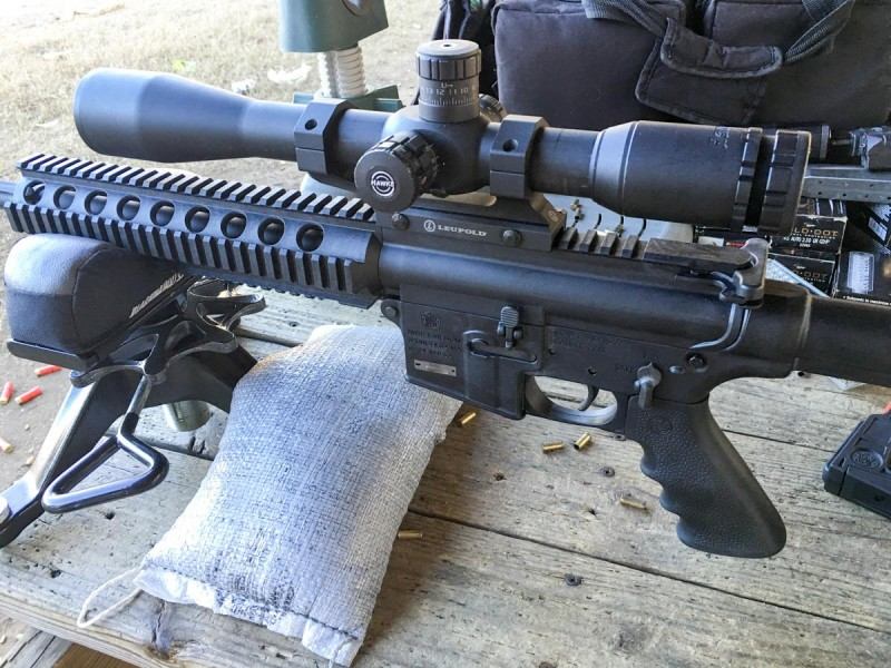 Any given .22LR ammo will move a lot faster from this Smith & Wesson M&P 15-22 than from a pistol.
